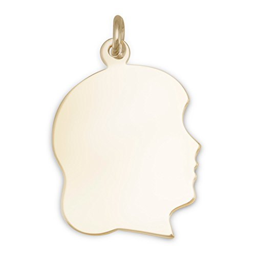 14/20 Gold Filled Engravable Girls Silhouette Pendant Measures 17mm X 27mm (Girl Gold Charm Silhouette)