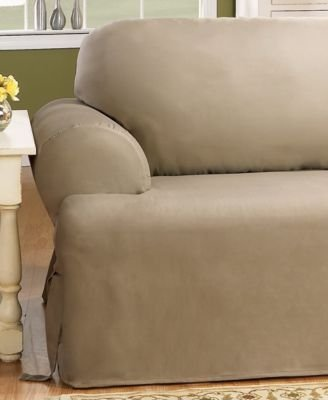 Sure Fit Duck Solid T Cushion   Chair Slipcover   Natural (SF28609)