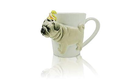 Image Unavailable  sc 1 st  Amazon UK & Pug Mug - 3D Pug Mug - Party Hat Pug - Dog Mug - Pug Gift ideas ...