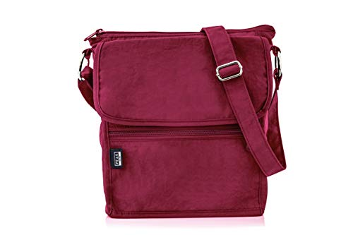 a87aab196 Travel Crossbody Purse - Hidden RFID Pocket - Includes Lifetime Lost & Found  ID (Burgundy