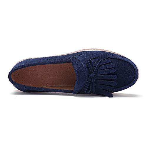tqgold Scuro 5 da Zeppa 5 cm Mocassini Scarpe Guida Loafers Donna Moda con Blu Tallone Comodo Camminare rwranfq1