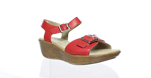 Munro New Womens Marci Red Leather Sandals Size 7.5 Wide (C, D, W)