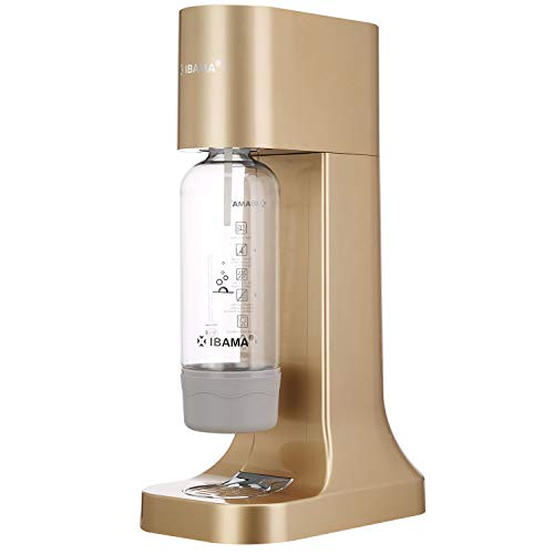 (IBAMA Sparkling Water Maker Soda Drink Carbonated Water Machine Easy Fizzy Beverage for Home/Office/Party, Champagne Gold (Carbonator Not Included))