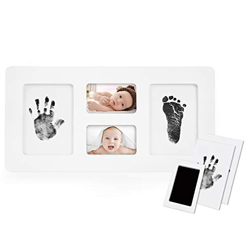 (Baby Handprint and Footprint Photo Frame Kit for Newborn Boys and Girls, Babyprints Paper and Clean Touch Ink Pad to Create Baby's Prints, Amazing Baby Shower)
