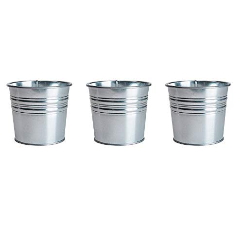 Tin Flower Pot - Ikea Galvanized Plant Pot, Pack of 3, Silver