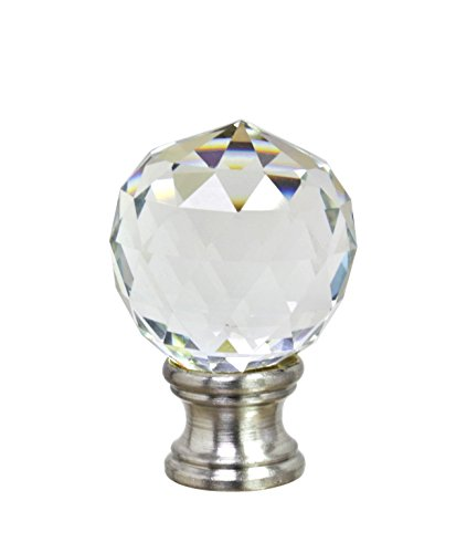 Aspen Creative 24008 Clear Faceted Crystal Lamp Finial in Brushed Nickel Finish, 1 3/4