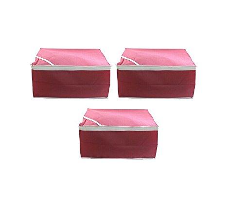 Fashion Bizz Pink Regular Multi Saree Cover 3 Pcs Combo