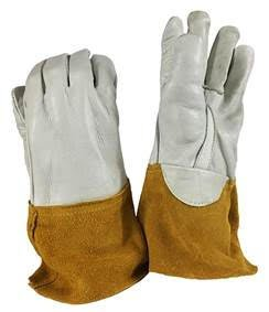 1 Dozen 12 Pairs Superior MIG Welding Gloves Beige Cow Grain Palm & Back, Straight Thumb, 4'' Rust Cow Split Leather Cuff with Kevlar Sewn, Unlined