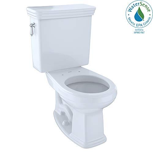 TOTO CST423EFG#01 Promenade 2-Piece E-Max Universal Height Round Toilet with Sanagloss, Cotton White