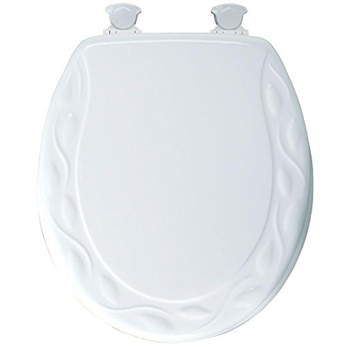 Mayfair 34EC 000 Ivy Sculptured Molded Wood Toilet Seat with Lift-Off Hinges, Round, White by Mayfair free shipping