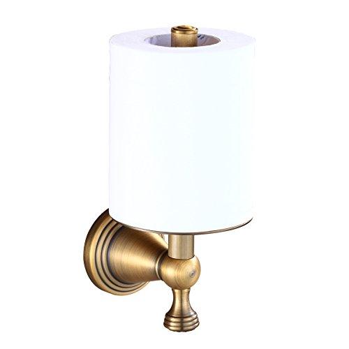 (Rozin Elegant Antique Brass Bathroom Toilet Paper Holder Roll Upright Tissue Shelf)