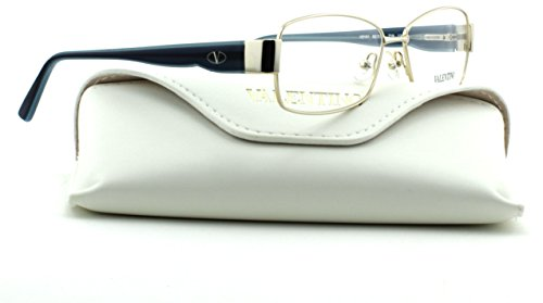 Valentino V2101 Women Rectangular Eyeglasses (Gold Blue Frame 719, - Frames Valentino