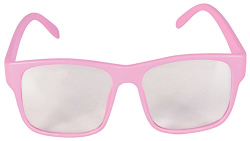 [Pink Nerd Geek 50s Clear Buddy Lens Librarian Costume Glasses] (1950s Geek Costume)