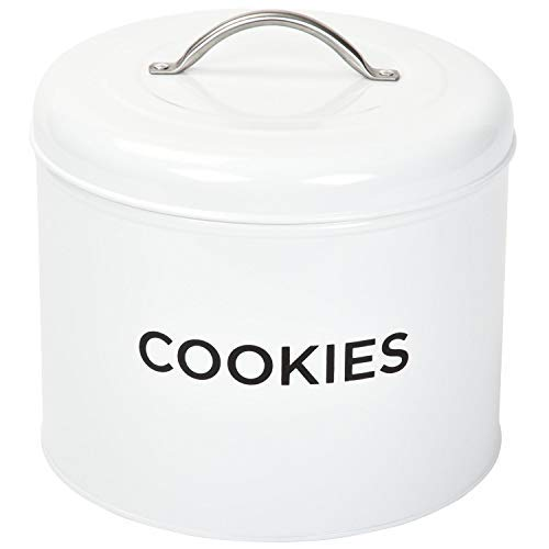 TIN COOKIE JAR By Spigo Great for Storing All Your Cookies and Delicious Treats, Durable Construction And Stylish Retro Design, 1.56 Gallons ()
