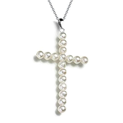 Religious White Freshwater Cultured Pearl Cross Pendant Necklace For Teen For Women Silver Plated
