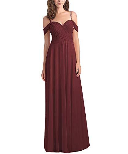 Women's Off The Shoulder Pleated A Line Chiffon Long Bridesmaid Maxi Dress Wedding Evening Dress Burgundy Size 12