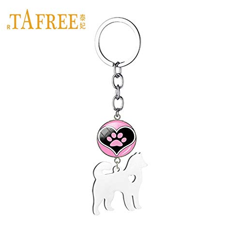 Key Chains - Dog Paw Print Keychain Eskimo Alaskan Malamute Dog Key Chain Ring for Men Women Car Bag Key Pendant Jewelry Gift SKU08 - by Mct12-1 PCs ()