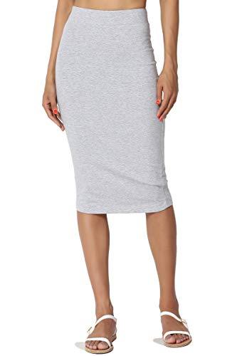 TheMogan Women's Stretch Cotton Elastic High Waist Pencil Midi Skirt Heather Grey L -