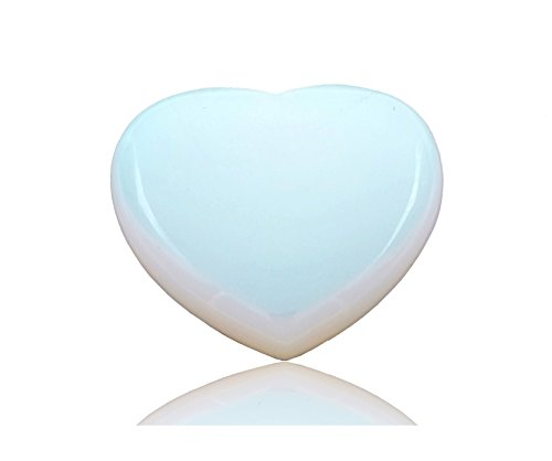 THINK POSITIVE Natural Rose Quartz Heart Love Healing Crystal Palm Stone (Opal) (Heart Stone Precious)