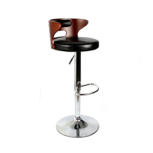 Homall Bentwood low-back adjustable Barstools with Black vinyl seat to decorate your Home,Kitchen,Office Extremely Comfy with seat back pad