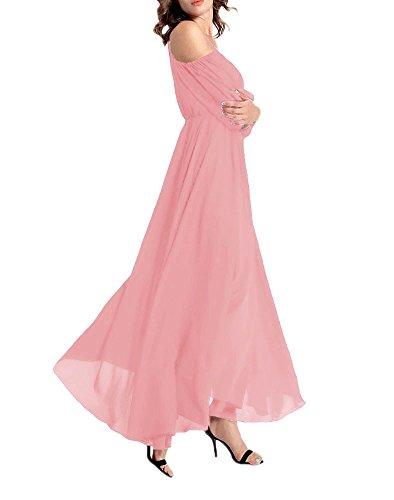 gasa Afibi del largo rosa maxi vestido informal mujeres noche vestidos hombro de fuera de A86wp