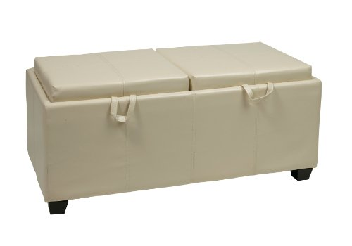 Office Star Metro Storage Ottoman Bench with Dual Trays/Seat Cushions in Eco Leather, Cream For Sale