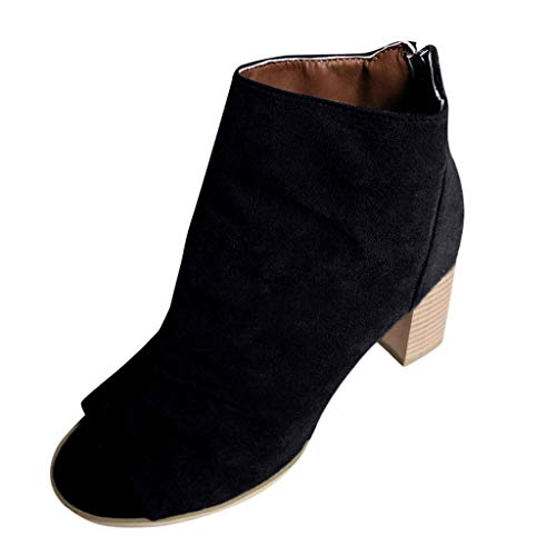(Malbaba Women's Peep Toe Bootie with Ruched Vamp Boot Chunky Heel Ankle Bootie Black)