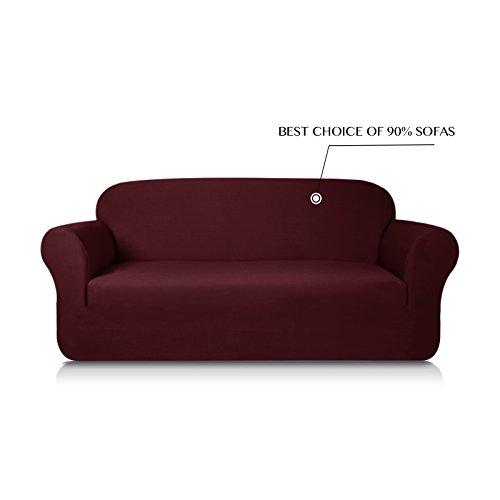 Subrtex Knit Jacquard Spandex Stretch 1-Piece Sofa Slipcovers (Sofa, Dark Red)