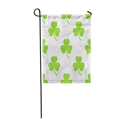 Semtomn Garden Flag 12x18 Inches Print On Two Side Polyester Green Cloverleaf Clover Pattern on Celebration Celtic Day Endless Erin Home Yard Farm Fade Resistant Outdoor House Decor -