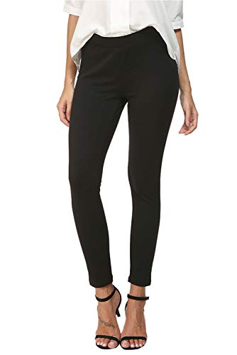 Bamans Mid Waist Yoga Dress Pants Stretch Slim Leg Tummy Control Work Pull-On Dress Leggings, Black, Medium