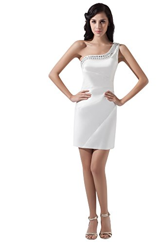 VogueZone009 Womens Sleeveless One Shoulder Charmeuse Acrylic Formal Dress, ColorCards, 16 by VogueZone009