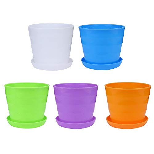 Tharv❤5PC Colourful Mini Plastic Flower Pot Succulent Plant Flowerpot Home Decor