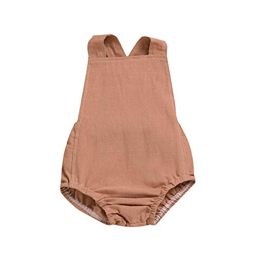 TSEXIEFOOFU Newborn Baby Boy Girl Cotton Line Sleeveless Straps Bodysuit Romper Jumpsuit Outfits Sunsuit Clothes (Coffee, 6-12 Months)