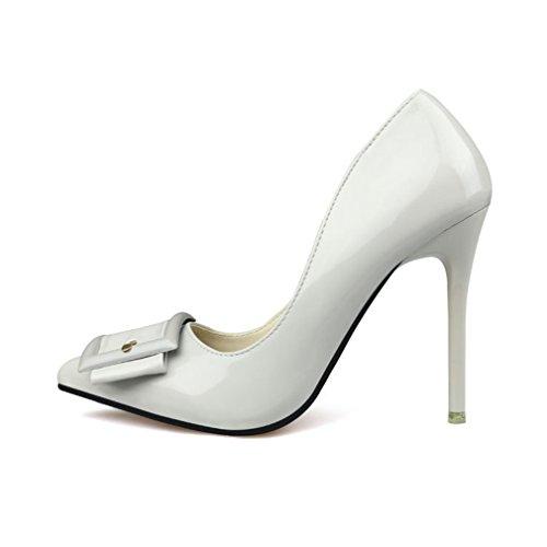 Cybling Mode Spetsig Tå Stilettklackar Klänning Pumpar För Kvinnor Lackläder Bröllopsfest Skor Grå