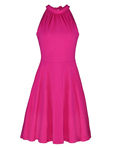 OUGES Women's Stand Collar Off Shoulder Sleeveless Cotton Casual Dress(Rose,L)