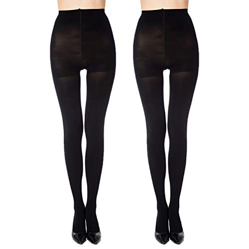 - MANZI 2 Pairs Women's Run Resistant Control Top Panty Hose Opaque Tights(Small,Black) ...