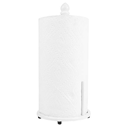 (Home Basics Chevron Cast Iron Free-Standing Paper Towel Holder with Dispensing Side Bar for Kitchen Countertop & Dinning Table Room, White)