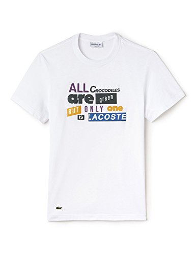 Lacoste Men's Men's White T-Shirt With 3D Lettering In Size 5-L White