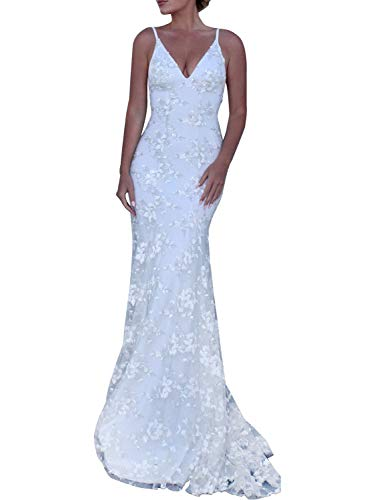 (Clothink White V-Neck Open Back Lace Maxi Dress Wedding Party L)