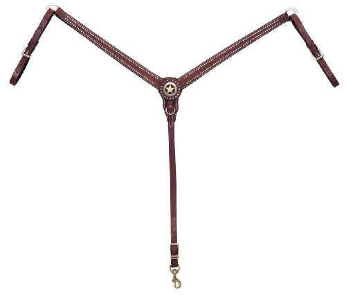 (Weaver Leather Texas Star Tapered Ring-in-Center Breast Collar, Chestnut)