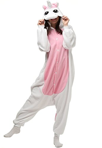 MiFier Unisex Adult Onesie Animal Kigurumi Unicorn Cosplay Halloween Pajamas Costume (M/L(Fit height:63