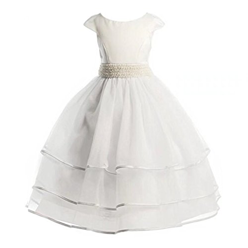 wer Girl Dress White Tulle First Communion Dress with Bow Sash (Angel Communion Dresses)