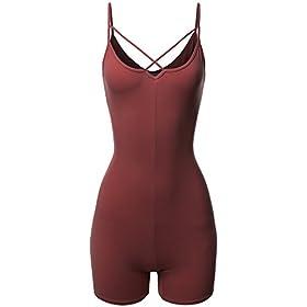 Made By Emma Front Cross Strap Cami Jersey Cotton Spandex Bodysuit Dark Mauve S