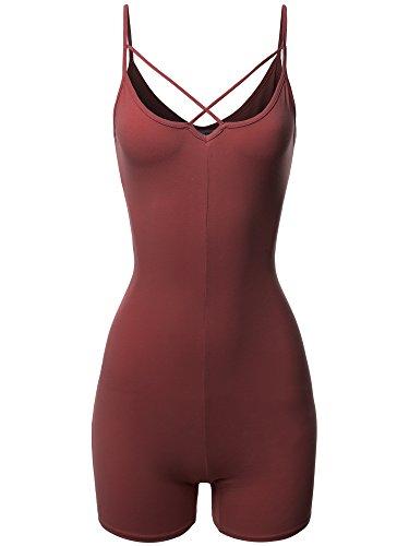 Made by Emma Front Cross Strap Cami Jersey Cotton Spandex Bodysuit Dark Mauve - Bodysuit Spandex Slim
