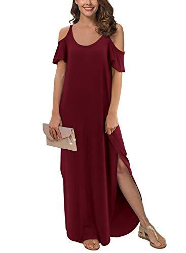 GRECERELLE Women's Summer Casual Loose Long Dress Strapless Strap Cold Shoulder Short Sleeve Split Maxi Dresses with Pocket Wine Red-L ()