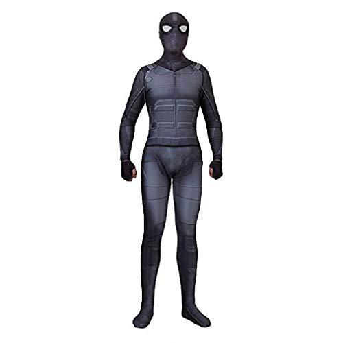Superhero Cosplay Spider Stealth Suit Halloween Spandex Jumpsuit Fancy Dress Black Kids,110