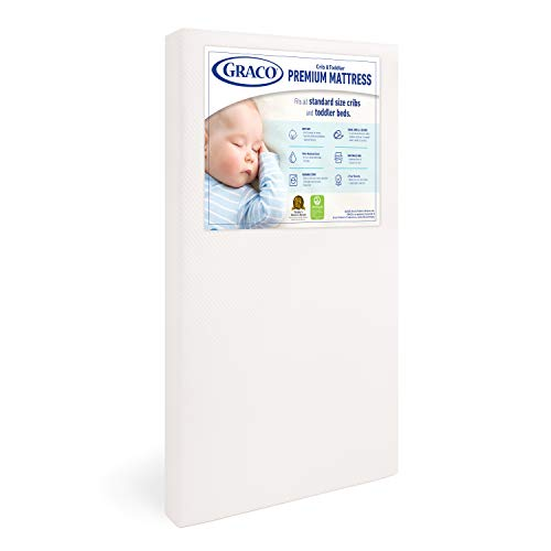 Graco Premium Foam Crib and Toddler Mattress, White – Ships Compressed in Lightweight Box, Ideal Mattress Firmness…