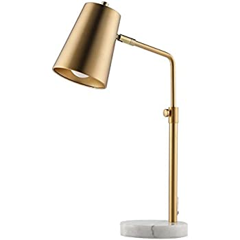 Co z gold desk lamps with marble base elegant metal shade task lamps with 9 5w e26 bulb for table living room bedroom reading