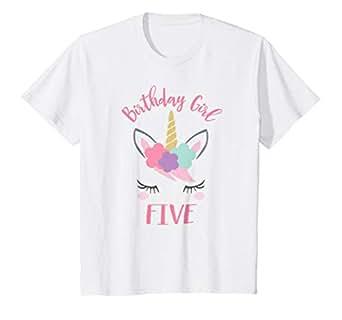 Amazon.com: Niños 5th cumpleaños camisa niña unicornio ...
