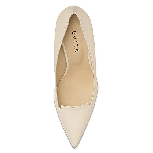 Evita Hueso Piel Zapatos de de vestir para Shoes mujer Cremeweiß 6r8Rxwqf6
